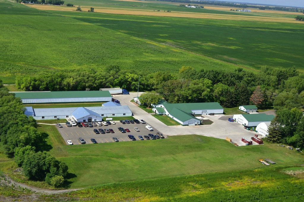 Aerial View of Ericco Manufacturing surrounded by agricultural land, near Viking, Minnesota